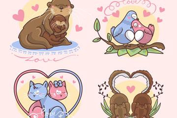 4款卡通情侣动物设计矢量素材