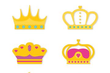 6款质感王冠设计矢量素材