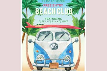 水彩绘沙滩派对海报矢量素材