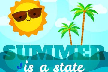 卡通夏季太阳和大海矢量素材