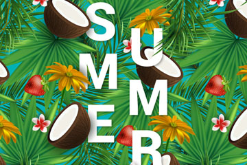创意热带花草和椰子装饰夏季艺术