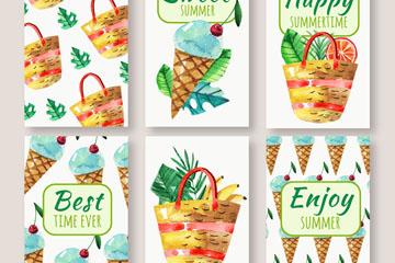 6款彩绘夏季雪糕卡片矢量图