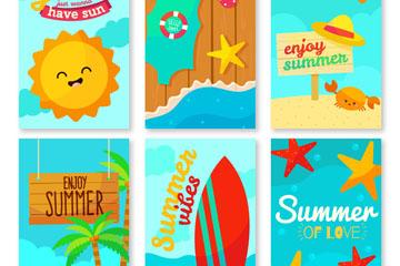 6款卡通夏季度假卡片矢量素材