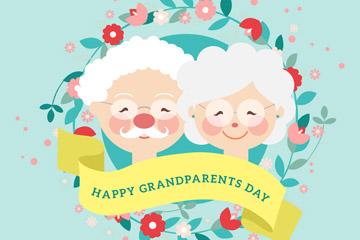 可爱祖父母节白发老人和花环矢量图