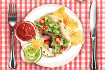 美味餐馆墨西哥菜肴矢量素材