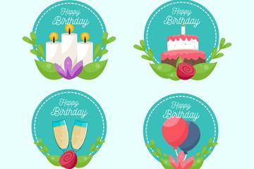 4款圆形生日快乐标签矢量素材