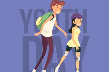 卡通青年节男孩和女孩矢量素材