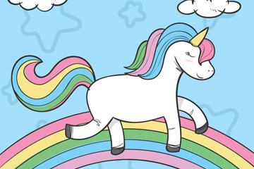 卡通彩虹上的独角兽矢量素材