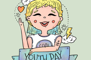 彩绘青年节举手笑脸女孩矢量素材