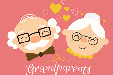 可爱祖父母节笑脸老人头像矢量素材