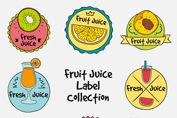 8款手绘水果汁标签矢量素材