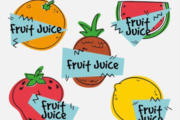 5款彩绘果汁标签矢量素材