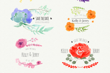 6款水彩绘花卉婚礼标签矢量图