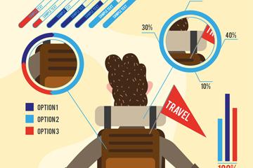 创意背包客男子背影旅行信息图矢量素材