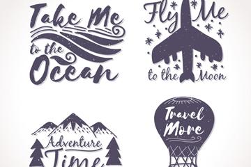4款创意旅行话语标签矢量素材