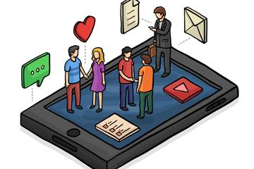 彩绘手机上的立体人物和短信矢量图