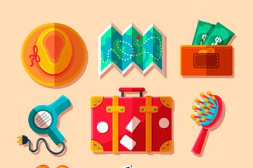 9款彩色扁平化旅行物品矢量素材