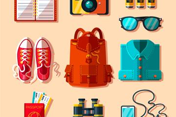 10款彩色旅行必需品矢量素材