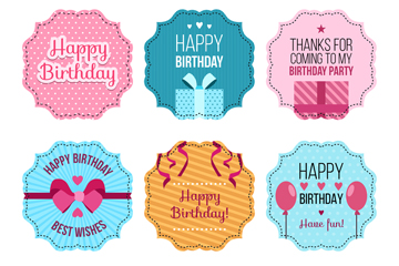 6款彩色生日快乐标签矢量素材
