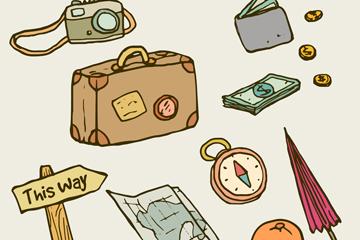 12款手绘旅行物品矢量素材
