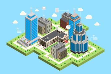 创意立体城市无线网络插画矢量素材