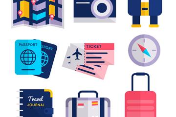 9款扁平化旅行物品设计矢量素材