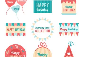 8款彩色生日快乐标签矢量素材