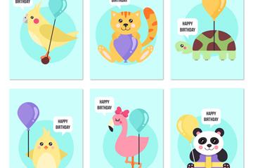 6款可爱动物生日卡片矢量素材