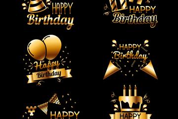 6款金色生日快乐标签矢量素材