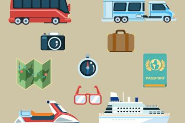 10款创意旅行元素图标矢量素材