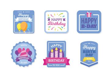 6款蓝色生日快乐标签矢量素材