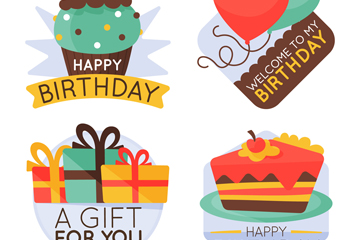 4款彩绘生日标签矢量素材