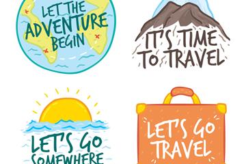 4款彩色旅行语言标签矢量素材