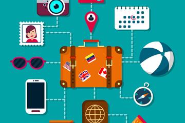 12款精致旅行物品图标矢量素材