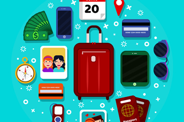 14款彩色旅行物品图标矢量素材