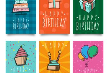 6款彩绘生日卡片设计矢量素材