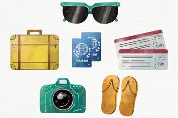 6款水彩绘旅行物品矢量素材