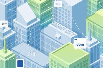创意立体智慧城市楼群矢量素材