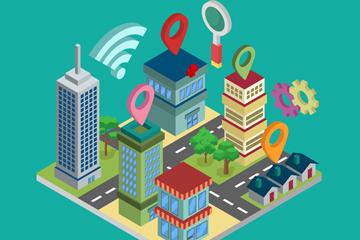 创意立体智慧城市建筑矢量素材