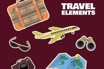 6款彩色旅行贴纸矢量素材