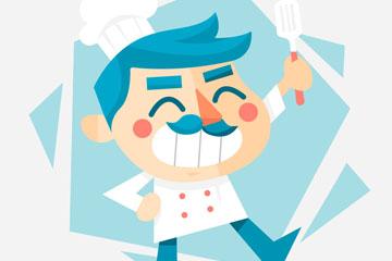 创意笑脸蓝发厨师矢量素材