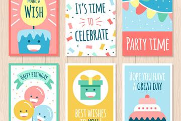 6款彩色生日祝福卡片矢量素材