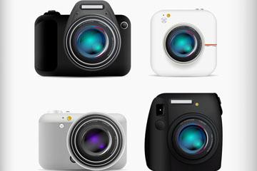 4款逼真照相机设计矢量素材