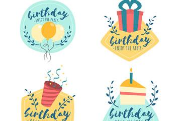 4款彩绘生日祝福标签矢量素材