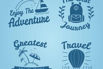 4款蓝色旅行话语标签矢量素材