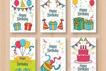 6款彩绘生日礼物卡片矢量素材
