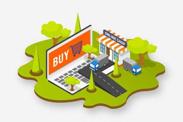 创意立体网上购物元素矢量素材