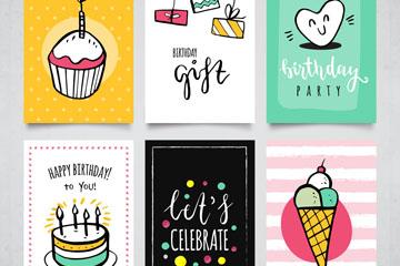 6款手绘生日卡片矢量素材