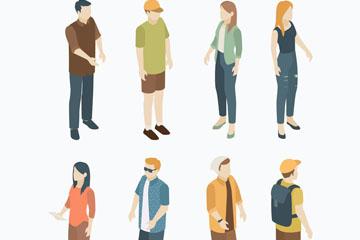 8款创意立体人物设计矢量素材