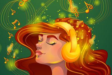 创意用金色耳机听音乐的女子矢量素材